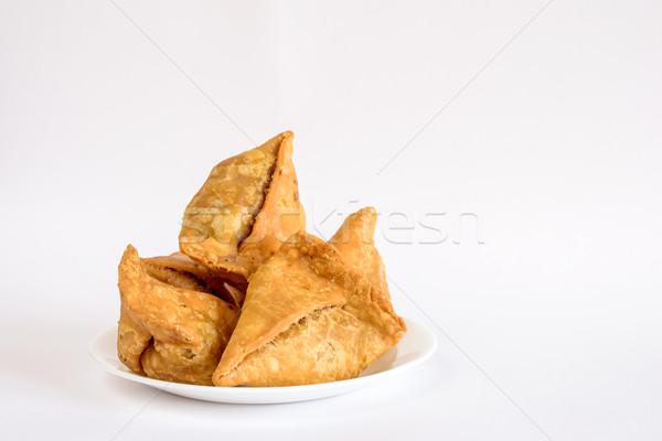 Plaque indian casse-croûte blanche alimentaire fond Photo stock © vinodpillai