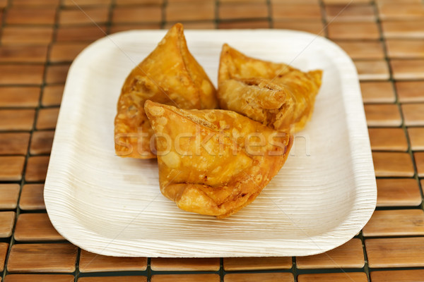 Samosa - Indian deep fried snack Stock photo © vinodpillai