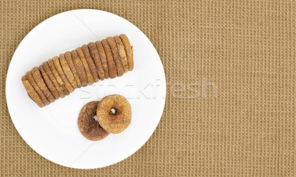 Séché plaque fruits fond dessert saine Photo stock © vinodpillai