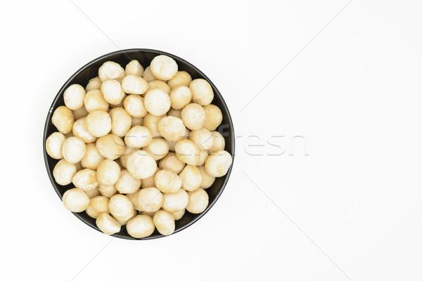 Stok fotoğraf: Fındık · siyah · çanak · beyaz · tohum · sağlıklı