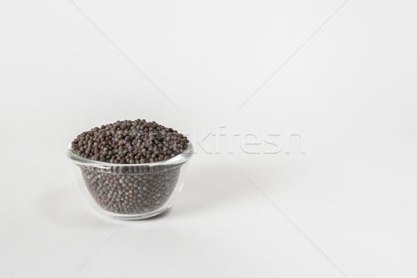 Fekete mustár magok száraz átlátszó üveg Stock fotó © vinodpillai