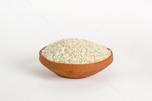 Basmati arroz argila tigela textura asiático Foto stock © vinodpillai