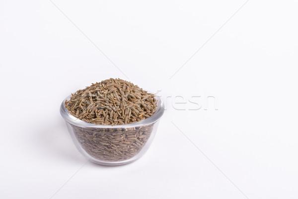 Komijn zaden glas kom witte voedsel Stockfoto © vinodpillai