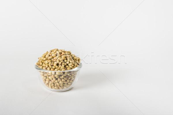 Secar cilantro semillas vidrio tazón planta Foto stock © vinodpillai