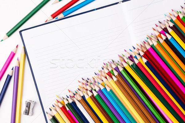 色 鉛筆 ノートブック オープン コピースペース ストックフォト © viperfzk