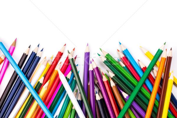 Szín ceruzák fehér köteg terv oktatás Stock fotó © viperfzk