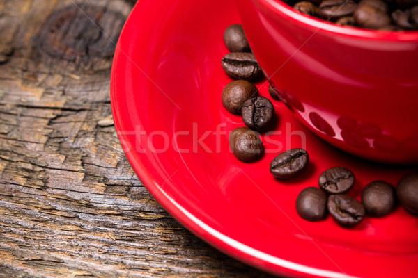 Stock fotó: Kávé · piros · csésze · közelkép · fából · készült · kávé