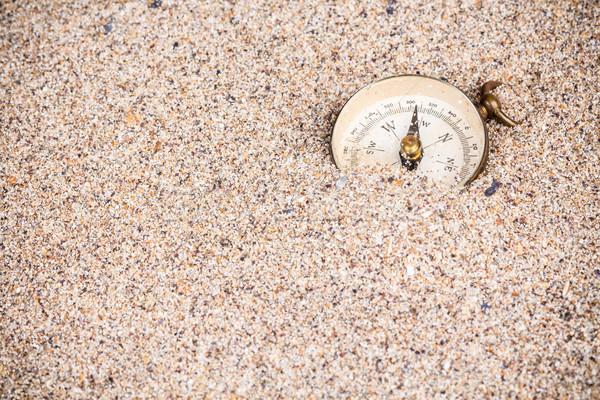 компас песок Adventure пляж воды морем Сток-фото © viperfzk