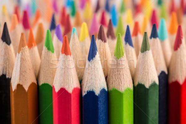 Közelkép színesceruza köteg ceruza makró lövés Stock fotó © viperfzk