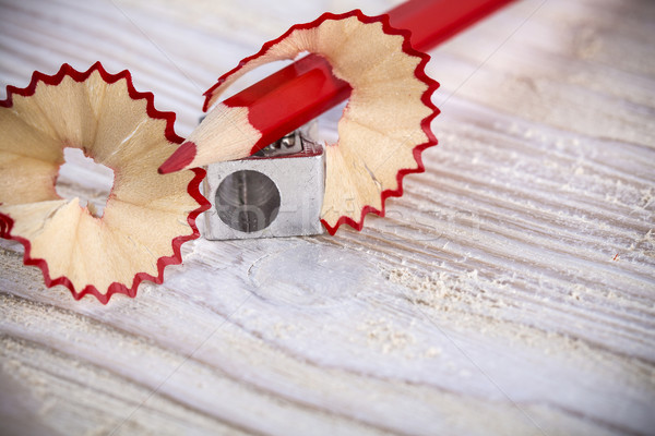 Pencil with sharpener and shavings Stock photo © viperfzk