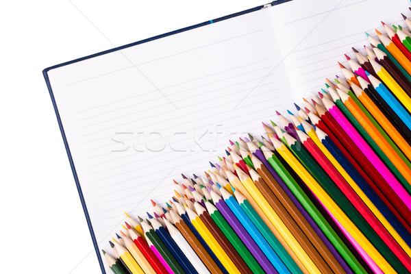 Köteg szín ceruzák nyitva notebook copy space Stock fotó © viperfzk