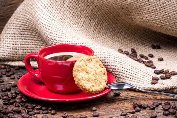 Kávéscsésze keksz kanál fa asztal fa pihen Stock fotó © viperfzk