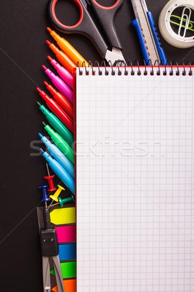 блокнот черный столе бумаги Сток-фото © viperfzk