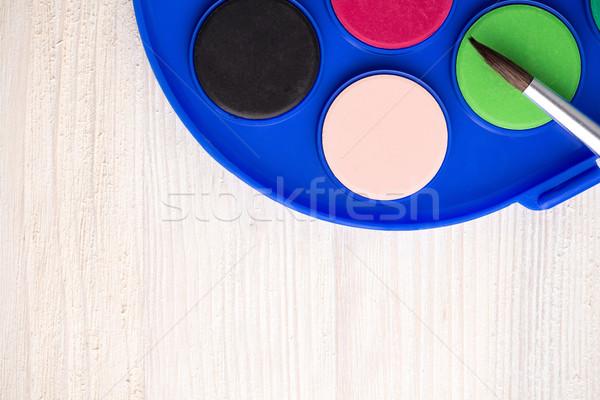 Ecset festék fa fából készült háttér művészet Stock fotó © viperfzk
