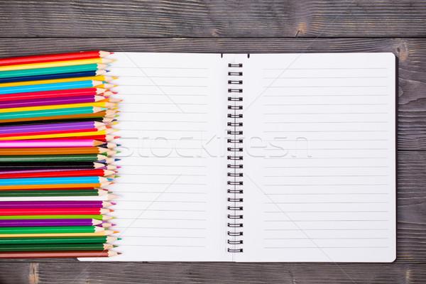 цвета карандашей открытых ноутбук серый Сток-фото © viperfzk