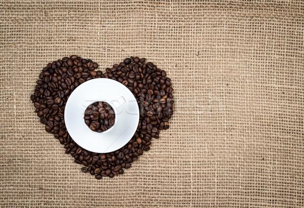 Fehér csésze szív kávé alakú terv Stock fotó © viperfzk