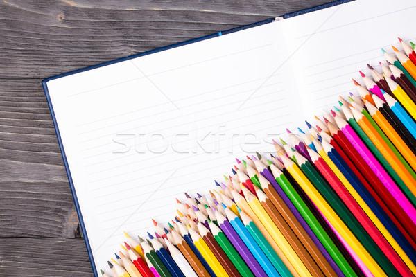 Renk kalemler açmak defter gri Stok fotoğraf © viperfzk