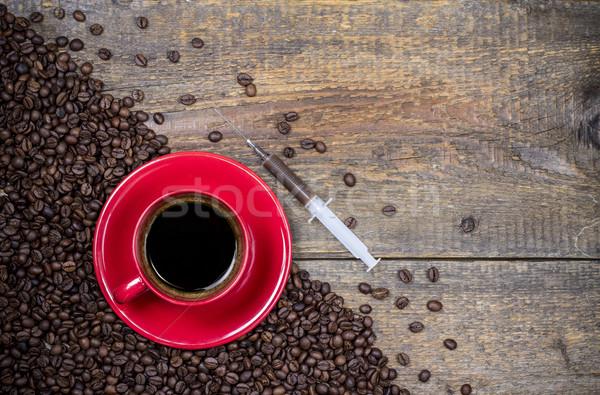 Minden nap lövés kávé kávéscsésze injekciós tű fa Stock fotó © viperfzk