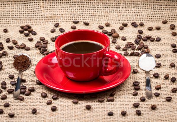 чашку кофе кофе сахар красный дизайна Сток-фото © viperfzk