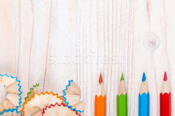 Creative background with pencils and pencil shavings Stock photo © viperfzk