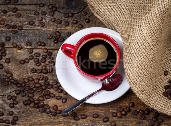 Tasse de café textiles haut vue texture bois Photo stock © viperfzk