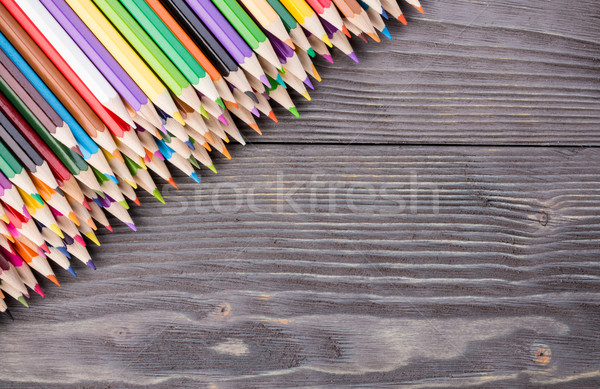 Color pencils on gray wooden background Stock photo © viperfzk