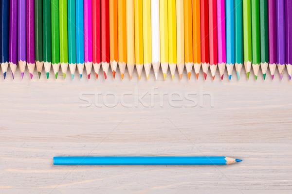 商业照片: 颜色 · 铅笔 ·木· 蓝色 · 铅笔 · 彩虹