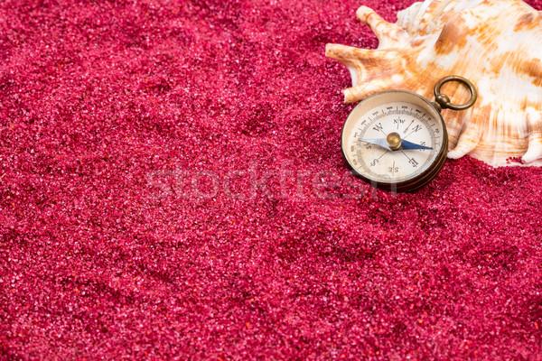 Klasszikus iránytű kagyló piros homokos víz Stock fotó © viperfzk
