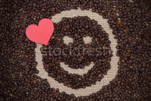 Kávé piros papír szív mosolygós arc köteg Stock fotó © viperfzk