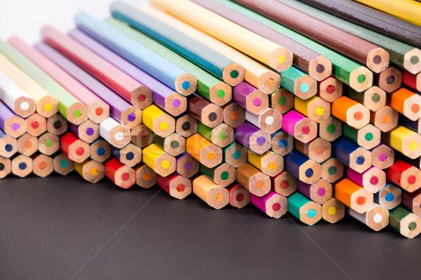Szín ceruzák fekete felület köteg egyezség Stock fotó © viperfzk