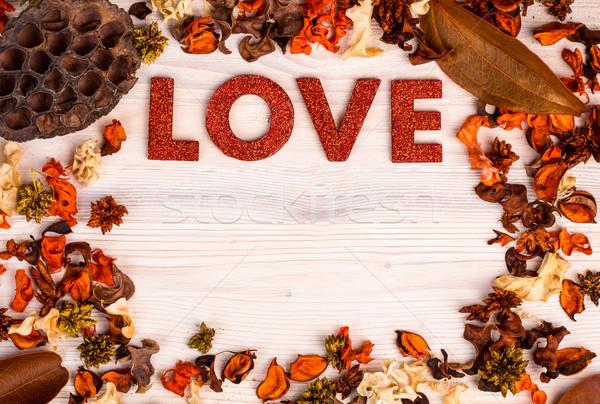 Valentin nap szeretet szöveg narancs barna aszalt Stock fotó © viperfzk