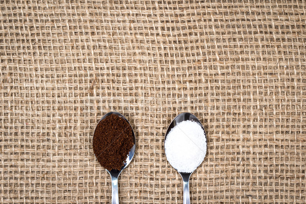 Coffee and sugar on gunny textile Stock photo © viperfzk