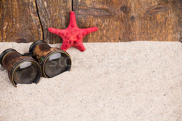 красный Starfish бинокль песчаный природы Сток-фото © viperfzk