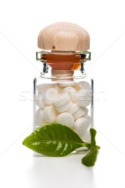 Fehér tabletták üveg konténer fából készült felső Stock fotó © viperfzk