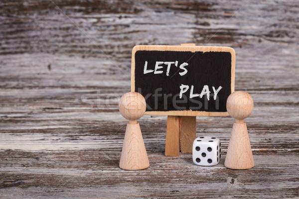 Játék iskolatábla kocka gyermek szoba csoport Stock fotó © viperfzk