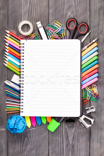 Office supplies on wooden desk Stock photo © viperfzk