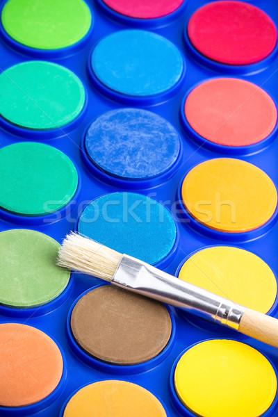Fény ecset víz festék kék konténer Stock fotó © viperfzk