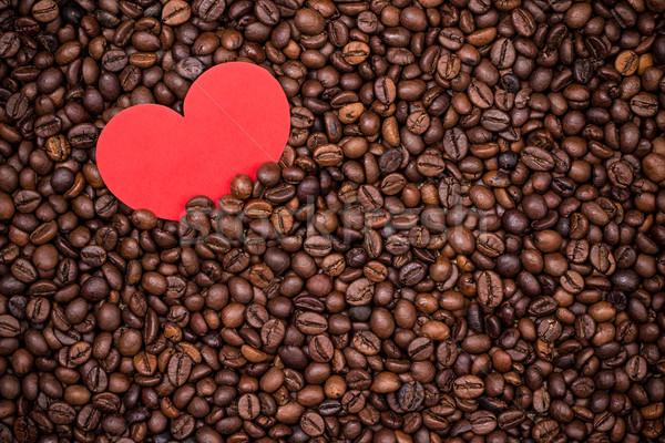 Kávé piros papír szív köteg háttér Stock fotó © viperfzk