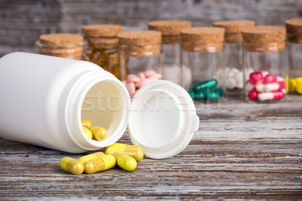黄色 錠剤 その他 木材 背景 ストックフォト © viperfzk
