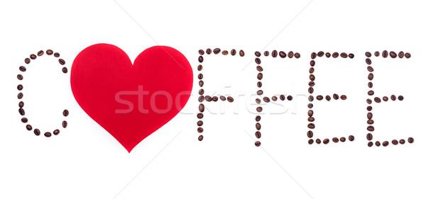 Szöveg szív fehér piros háttér kávézó Stock fotó © viperfzk