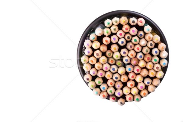 Szett szín ceruzák fekete iroda tároló Stock fotó © viperfzk