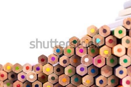 Közelkép ceruza köteg fehér copy space színesceruza Stock fotó © viperfzk
