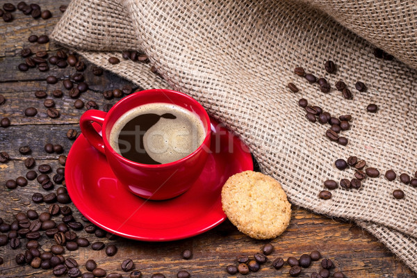 Coffee cup with biscuit and  gunny textile Stock photo © viperfzk