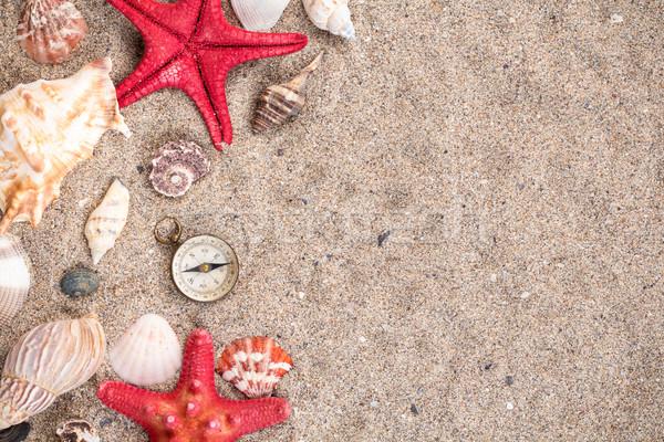 Mer obus deux rouge starfish boussole Photo stock © viperfzk