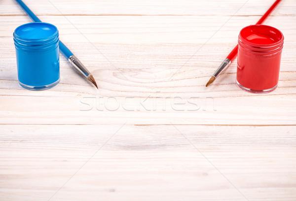 Kék piros fából készült fa absztrakt technológia Stock fotó © viperfzk