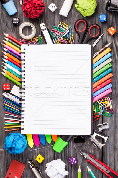 Various office supplies on desk Stock photo © viperfzk