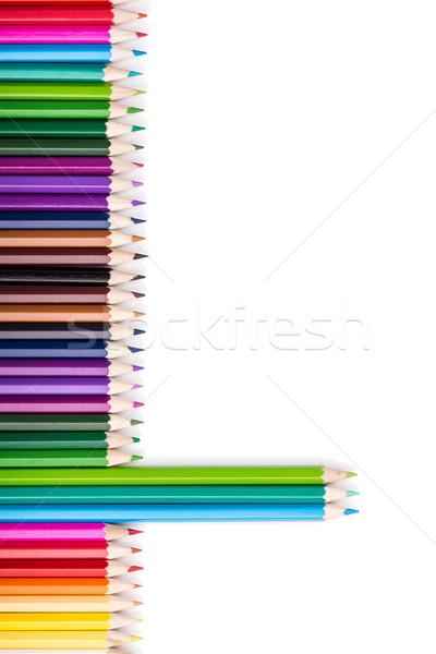 Szín ceruzák három áll ki egyezség Stock fotó © viperfzk