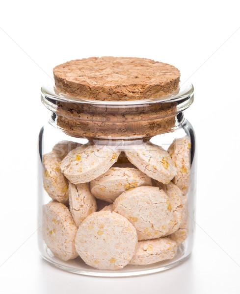Tabletták gyógyszer üveg konténer fehér fa Stock fotó © viperfzk