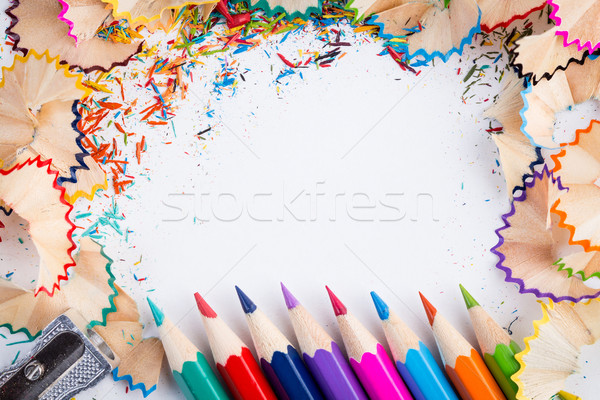 Being creative with pencils and shavings on white Stock photo © viperfzk