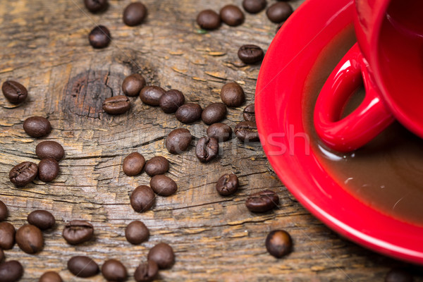 Spilled coffee with coffee beans Stock photo © viperfzk